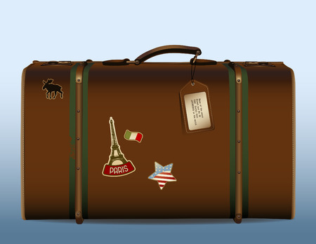 immigration: realistic illustration of a vintage suitcase with tag and different stickers Illustration