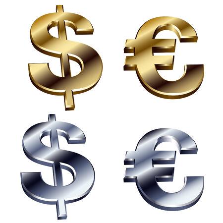 shiny dollar and euro signs Vector