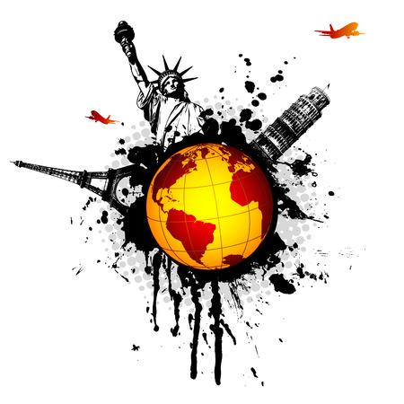 monde splat - illustration Voyage avec des monuments, des avions et des éléments grungy Vecteurs