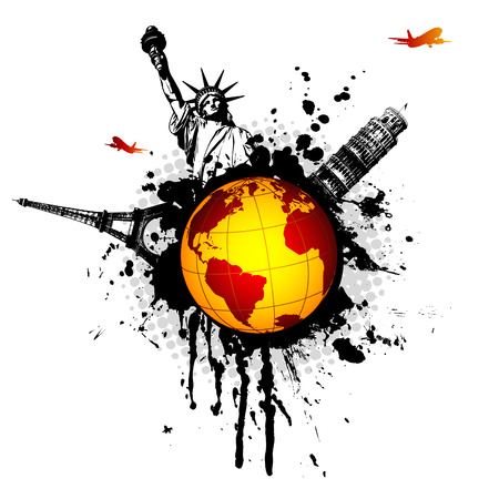 world splat - travel illustration with monuments, airplanes and grungy elements Vector