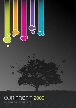 Business fantaisie color�e mod�le, d'arbres et troupeau de chiffres
