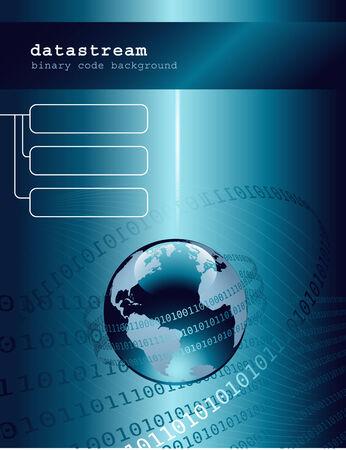 technologie de base avec un globe bleu brillant et code binaire Illustration