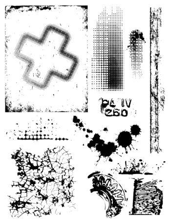collection de diff�rentes textures crasseux et la conception des �l�ments Illustration