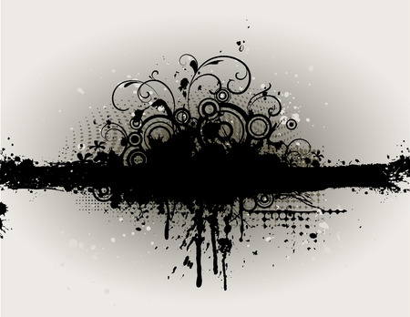black swirls: dark grungy border with splats and floral elements