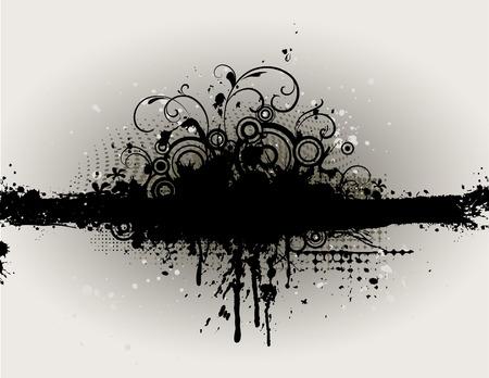 fronti�re avec le grunge sombre et des ic�nes d'�l�ments floraux