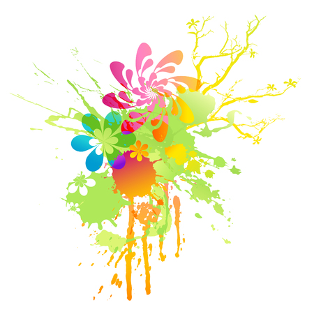 rainbow-colored floral spring splat Vector