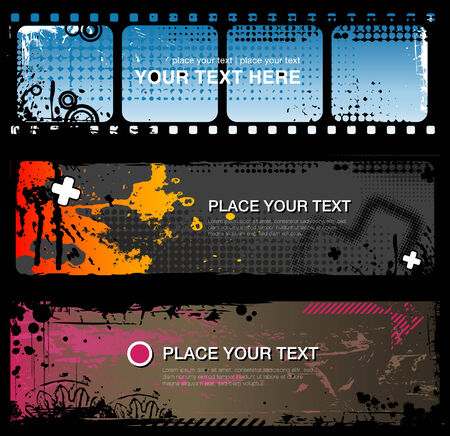 set of three abstract grungy banners Vector