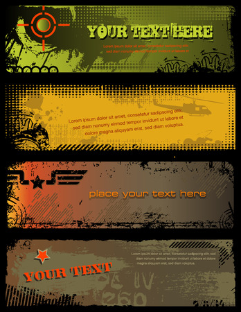 set of four grungy military banners Vettoriali