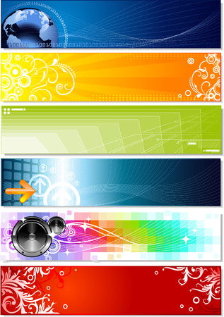 set of six banners on different topics Illustration