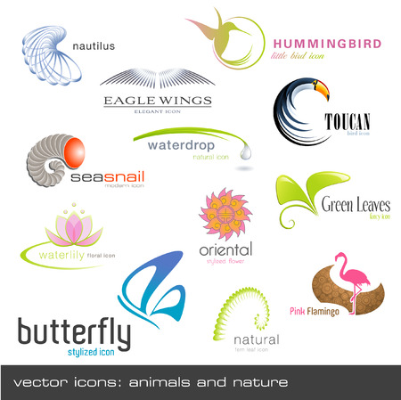 ferns: vector icons: animals and nature (12 pieces) Illustration