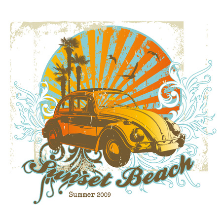 summer illustration with vintage car and floral elements