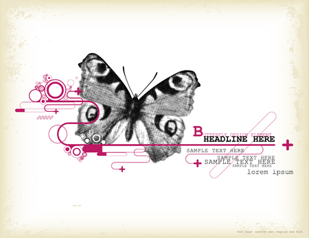 peacock butterfly: graphic design element with halftone butterfly Illustration