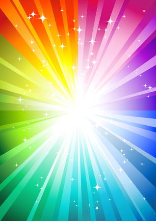 rainbow sunburst background with glittering stars Vettoriali
