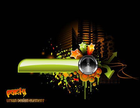 music design: funky dise�o de la m�sica urbana con altavoz y elementos gr�ficos