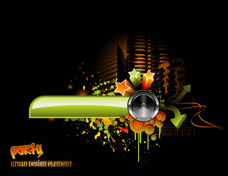 funky urban music design with speaker and graphic elements Vector