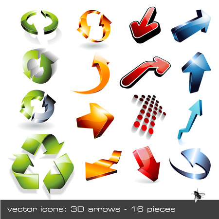 ensemble de 16 fl�ches vecteur � trois dimensions
