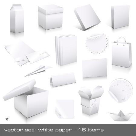 vecteur de set: papier blanc - CI et des mannequins d'emballages