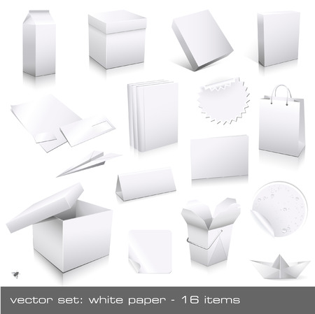 vector set: white paper - ci and packaging dummies Vector