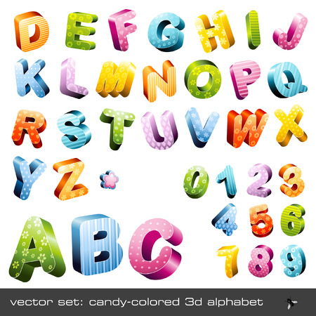 cute candy-colored 3d alphabet with different patterns (caps and numerics) Vector