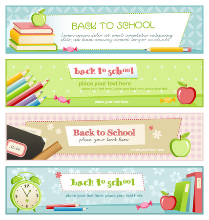 set of four pastel-colored school related banners Stock Vector - 5195230