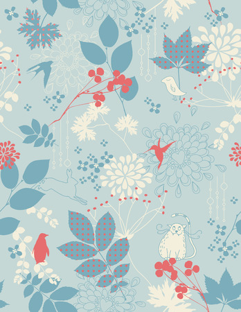 retro childrens floral background with animals - tiles seamlessly Vector