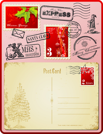 hollies: christmas postage set with vintage postcard and stamps Illustration