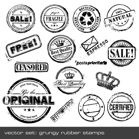 collection of grungy rubber stamps - 16 items Vector