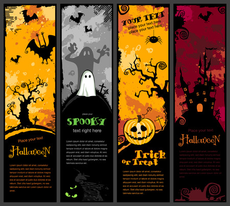 s�rie de quatre banni�res cute halloween