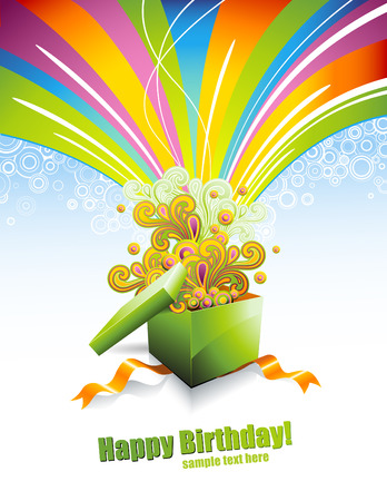 background or greeting card with giftbox and colorful swirls Vector