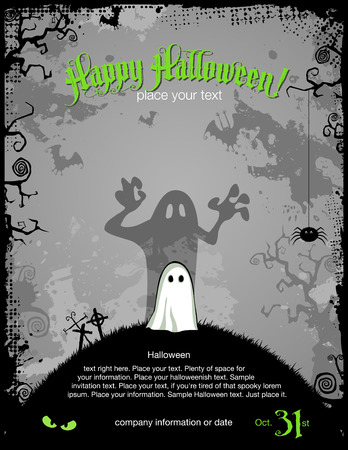 cute halloween: halloween party invitation or background with cute little ghost Illustration