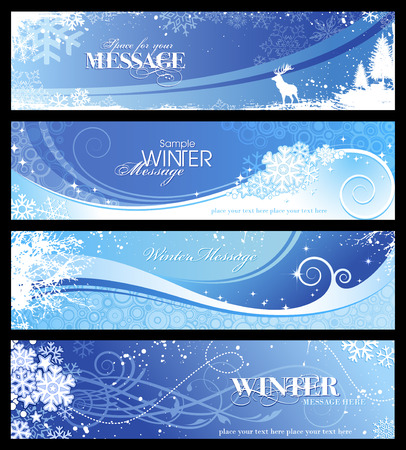 set of 4 blue winter banners with snowflakes and floral elements Vector