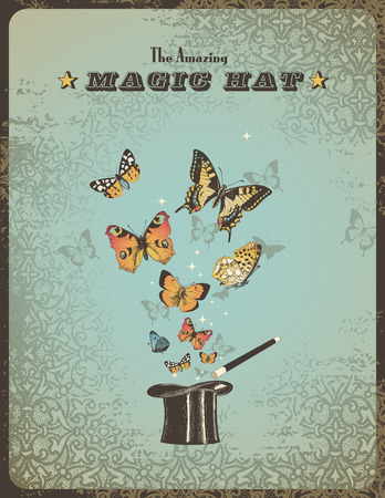 enchantment: magic poster with hat, wand and butterflies