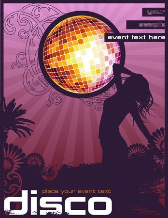anni settanta: Flyer retro  poster design con Dancing Girl e scintillante disco ball Vettoriali