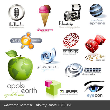 vector icons: shiny and 3d - set 4 Vector
