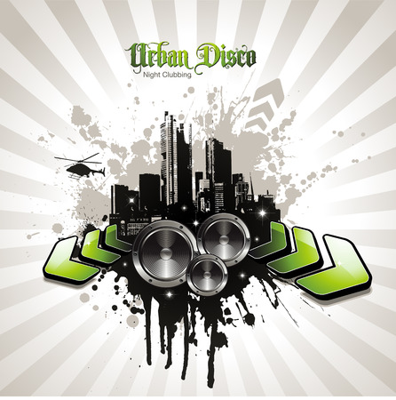 urban party design element with speakers Vector
