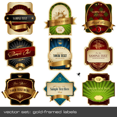 food label: vector set: gold-framed labels - 9 items on different topics