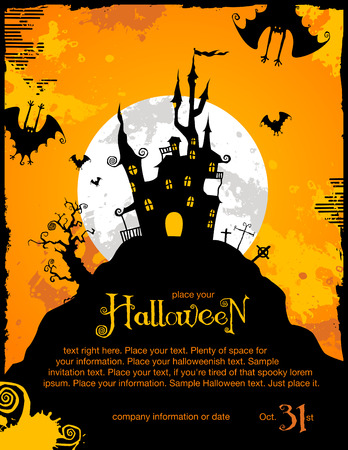 spooky: halloween invitation or background with spooky castle and bats Illustration