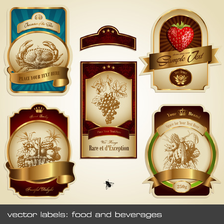 grocery: vector labels: food and beverages Illustration