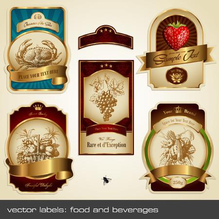 vector labels: voedsel en dranken