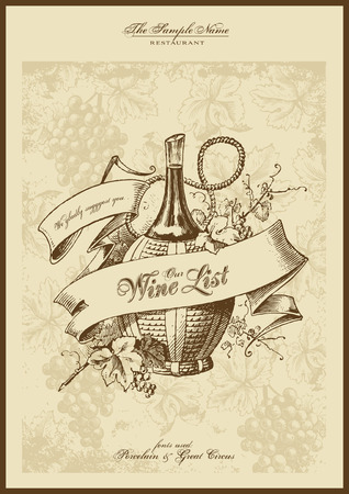 menu series: wine list with elegant engraving Vector