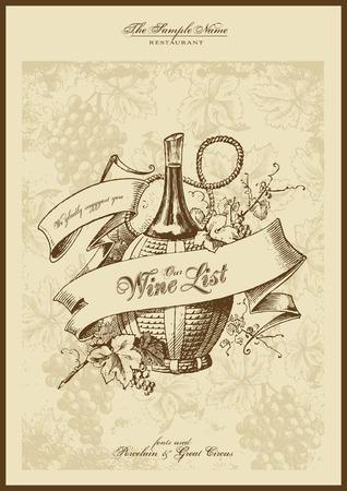 taverns: serie de men�: carta de vinos con grabado elegante Vectores