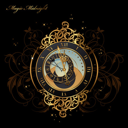 reloj antiguo: reloj astronómico cosecha poco antes de medianoche Vectores