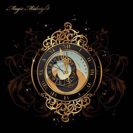 Vintage horloge astronomique peu avant minuit Illustration