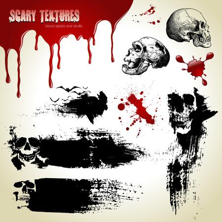 Halloween vector set: scary textures, skulls and blood Stock Vector - 5785231
