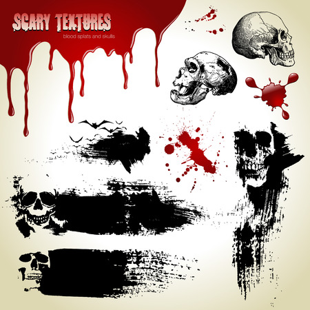 przerażający: Ustawić Halloween wektorowe: tekstury straszny, czaszki i krwi