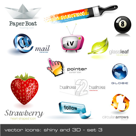 vector icons: shiny and 3d - set 3 Please visit my portfolio for similar images! Vector