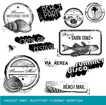 vector summer stamps - set of detailed summer-related grungy rubber stamps Stock Vector - 5785230