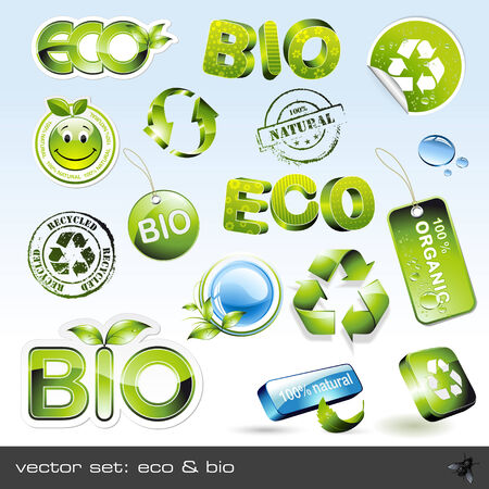 16: vector set: eco & bio - 16 items Illustration