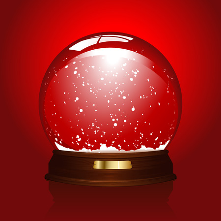 christal:  realistic illustration of an empty snowglobe over red (also available in blue)