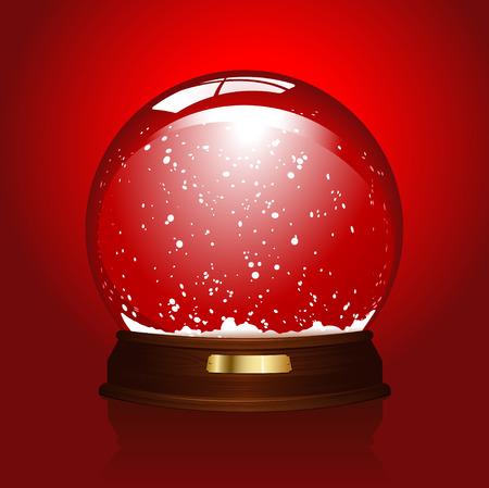 realistische afbeelding van een lege snowglobe over rood (ook beschikbaar in het blauw)  Stock Illustratie